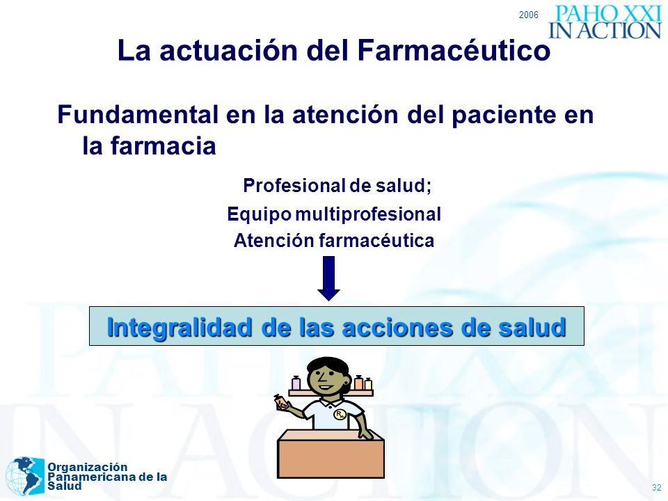 2006 Organización Panamericana de la Salud 32 La actuación del Farmacéutico Fundamental en la atención del paciente en la farmacia Profesional de salu