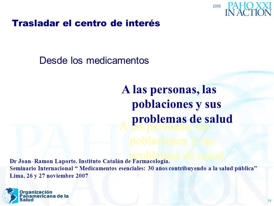 2006 Organización Panamericana de la Salud 34 Trasladar el centro de interés Desde los medicamentos A las personas, las poblaciones y sus problemas de