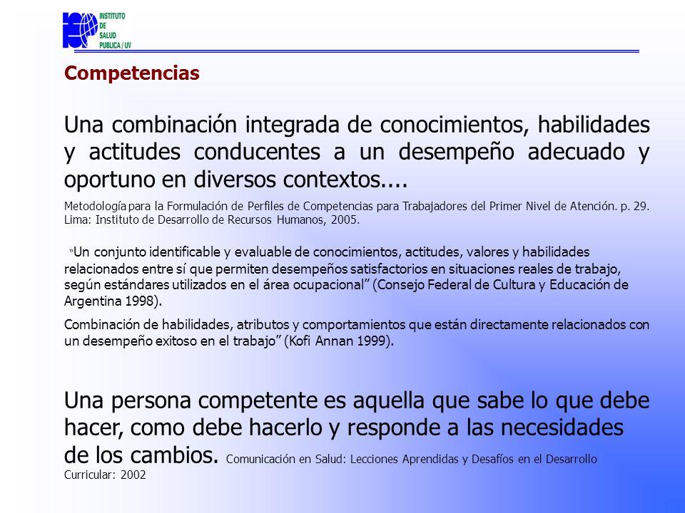 Competencias Una combinación integrada de conocimientos, habilidades y actitudes conducentes a un desempeño adecuado y oportuno en diversos contextos....