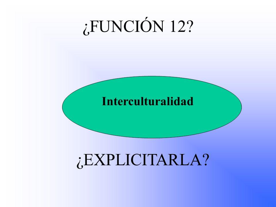 ¿FUNCIÓN 12? Interculturalidad ¿EXPLICITARLA?
