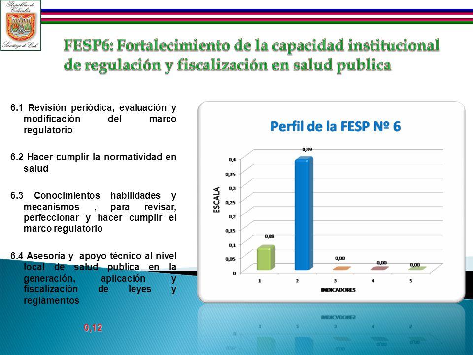 6.1 Revisión periódica, evaluación y modificación del marco regulatorio 6.2 Hacer cumplir la normatividad en salud 6.3 Conocimientos habilidades y mec