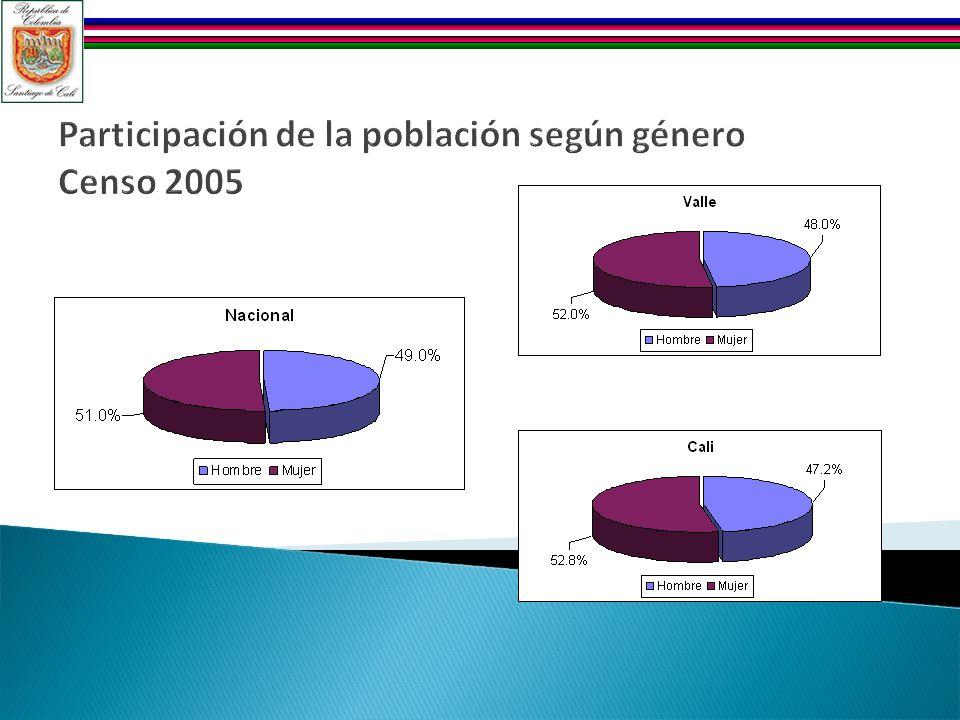 Participación de la población según género Censo 2005