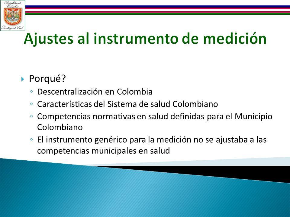 Ajustes al instrumento de medición Porqué? Descentralización en Colombia Características del Sistema de salud Colombiano Competencias normativas en sa