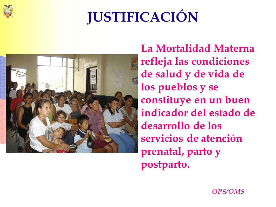 JUSTIFICACIÓN La Mortalidad Materna refleja las condiciones de salud y de vida de los pueblos y se constituye en un buen indicador del estado de desar