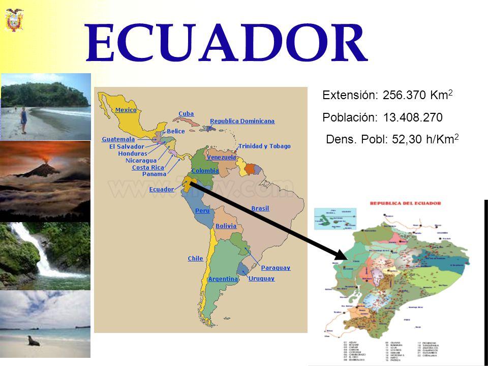 ECUADOR Extensión: 256.370 Km 2 Población: 13.408.270 Dens. Pobl: 52,30 h/Km 2