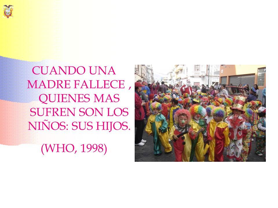 CUANDO UNA MADRE FALLECE, QUIENES MAS SUFREN SON LOS NIÑOS: SUS HIJOS. (WHO, 1998)
