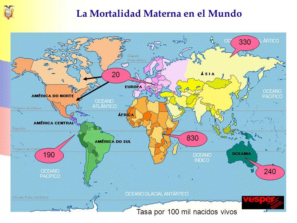 La Mortalidad Materna en el Mundo Tasa por 100 mil nacidos vivos 830 330 240 190 20