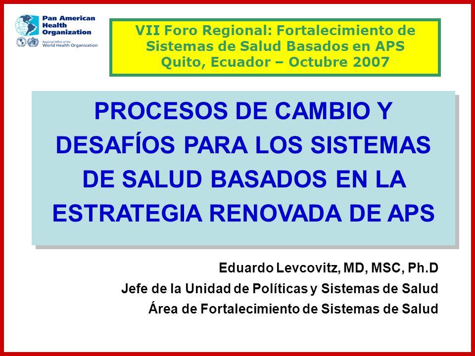 Eduardo Levcovitz, MD, MSC, Ph.D Jefe de la Unidad de Políticas y Sistemas de Salud Área de Fortalecimiento de Sistemas de Salud VII Foro Regional: Fo