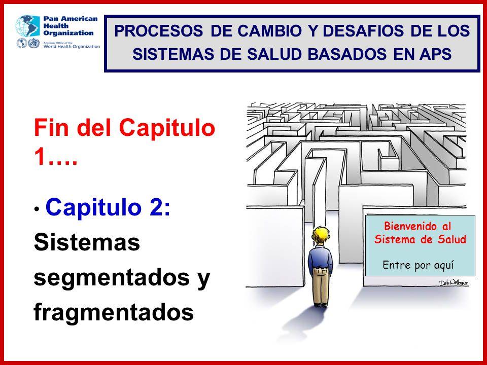 Capitulo 2: Sistemas segmentados y fragmentados Fin del Capitulo 1…. Bienvenido al Sistema de Salud Entre por aquí PROCESOS DE CAMBIO Y DESAFIOS DE LO