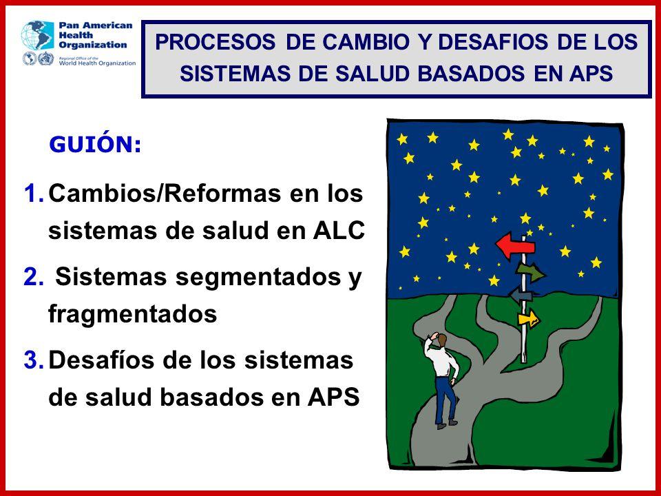 GUIÓN: 1.Cambios/Reformas en los sistemas de salud en ALC 2. Sistemas segmentados y fragmentados 3.Desafíos de los sistemas de salud basados en APS PR