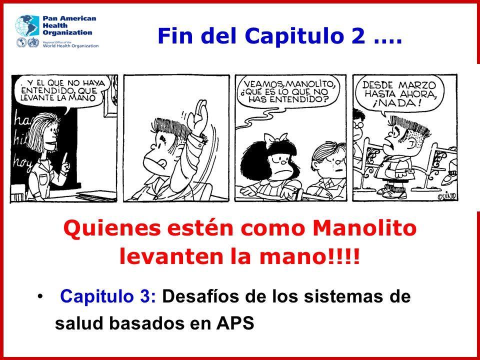 Fin del Capitulo 2 …. Quienes estén como Manolito levanten la mano!!!! Capitulo 3: Desafíos de los sistemas de salud basados en APS