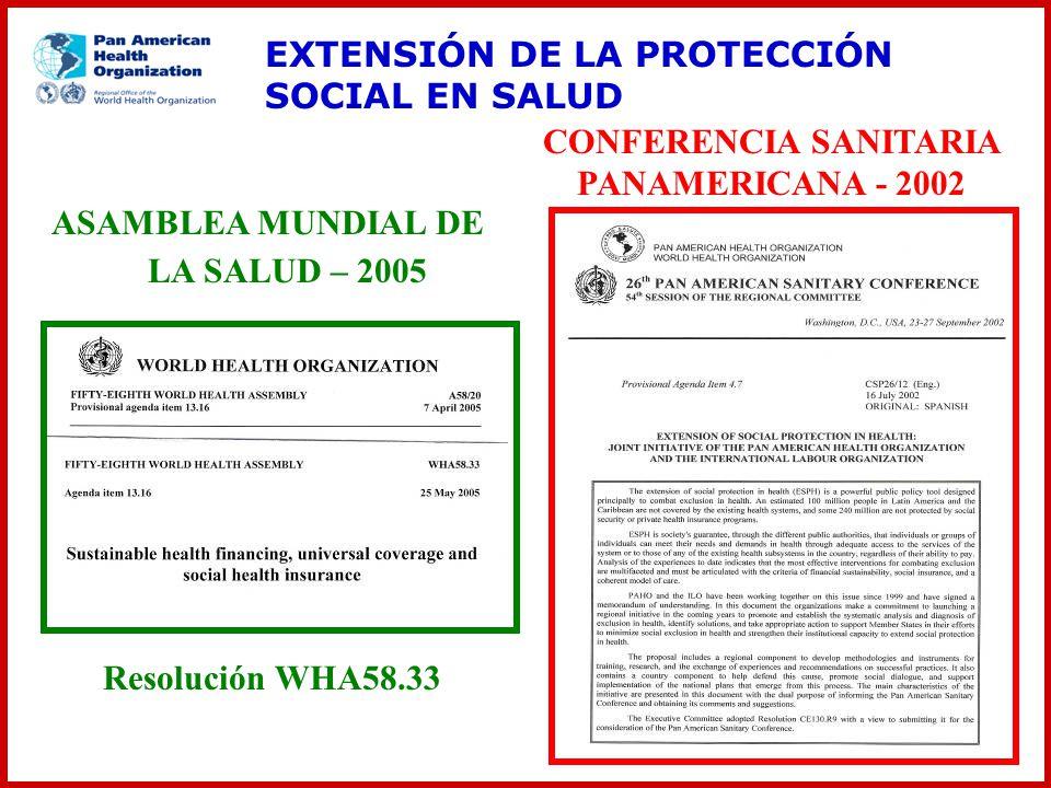 ASAMBLEA MUNDIAL DE LA SALUD – 2005 CONFERENCIA SANITARIA PANAMERICANA - 2002 Resolución WHA58.33 EXTENSIÓN DE LA PROTECCIÓN SOCIAL EN SALUD