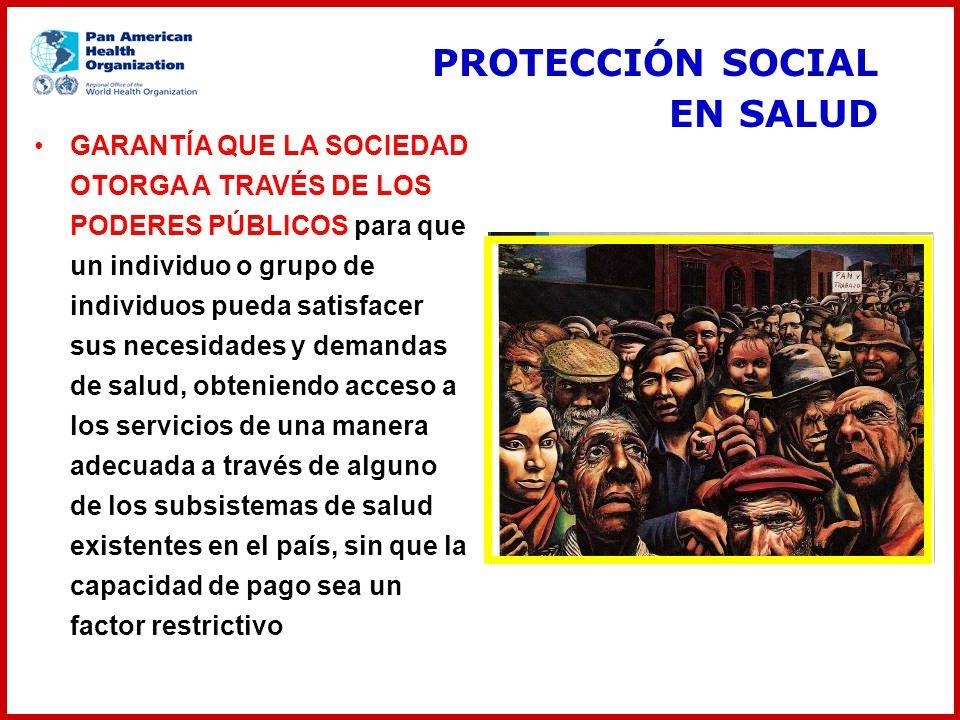 PROTECCIÓN SOCIAL EN SALUD GARANTÍA QUE LA SOCIEDAD OTORGA A TRAVÉS DE LOS PODERES PÚBLICOS para que un individuo o grupo de individuos pueda satisfac