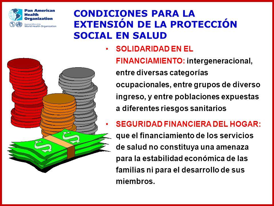 CONDICIONES PARA LA EXTENSIÓN DE LA PROTECCIÓN SOCIAL EN SALUD SOLIDARIDAD EN EL FINANCIAMIENTO: intergeneracional, entre diversas categorías ocupacio