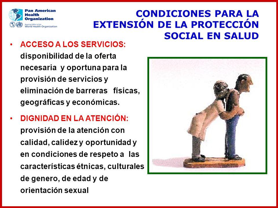 CONDICIONES PARA LA EXTENSIÓN DE LA PROTECCIÓN SOCIAL EN SALUD ACCESO A LOS SERVICIOS: disponibilidad de la oferta necesaria y oportuna para la provis