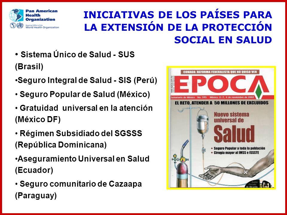 Sistema Único de Salud - SUS (Brasil) Seguro Integral de Salud - SIS (Perú) Seguro Popular de Salud (México) Gratuidad universal en la atención (Méxic
