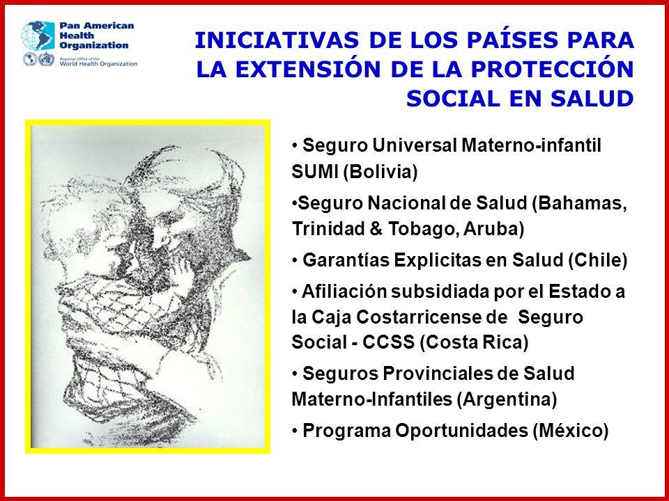 Seguro Universal Materno-infantil SUMI (Bolivia) Seguro Nacional de Salud (Bahamas, Trinidad & Tobago, Aruba) Garantías Explicitas en Salud (Chile) Af