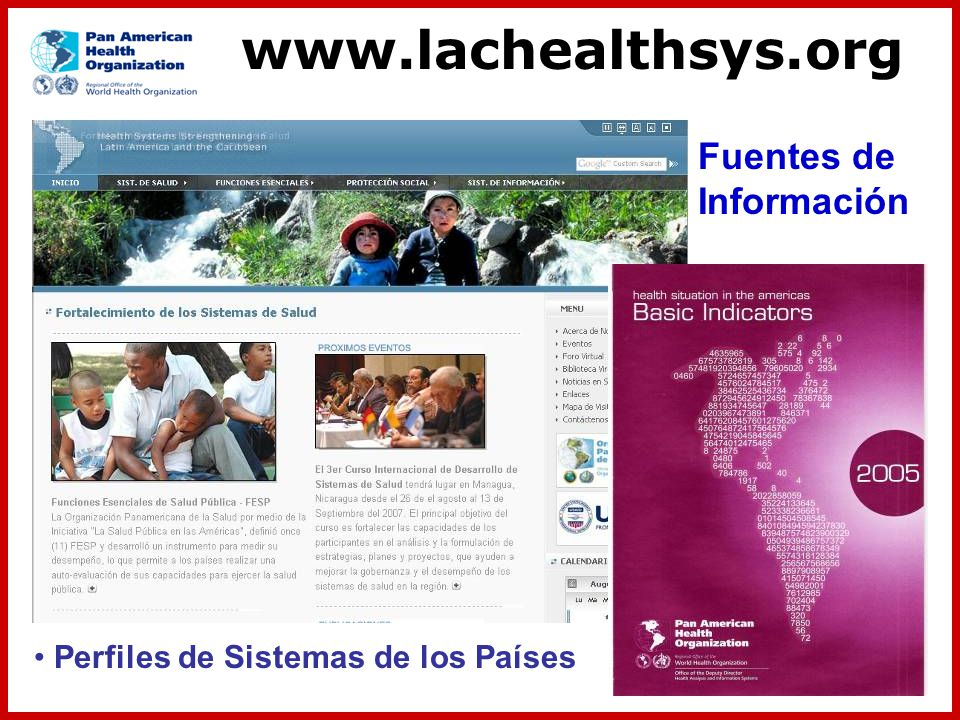 www.lachealthsys.org Fuentes de Información Perfiles de Sistemas de los Países