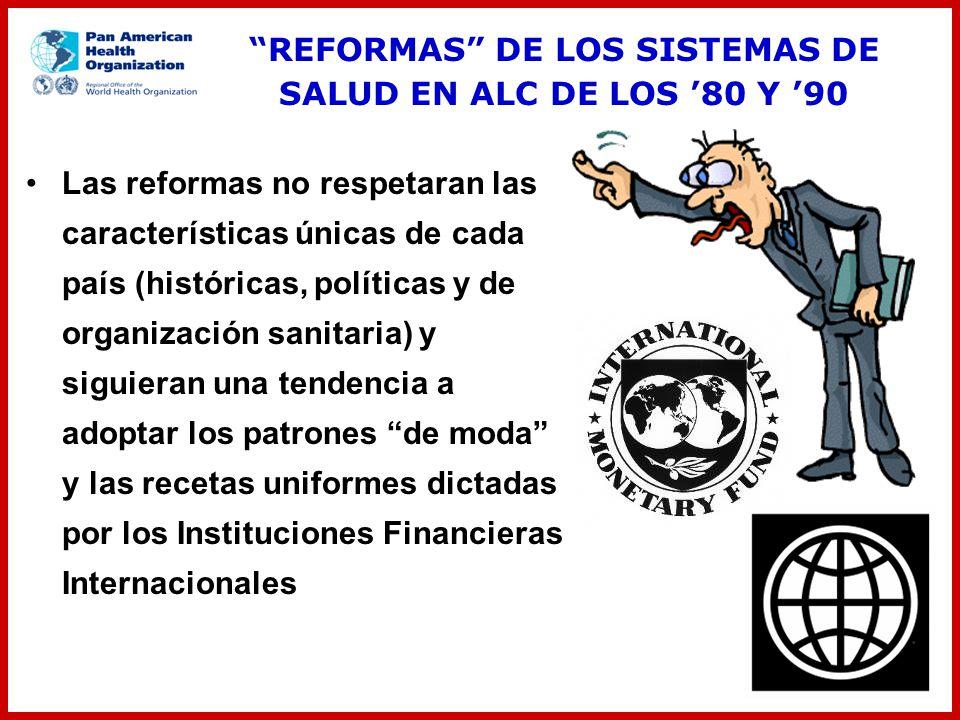Las reformas no respetaran las características únicas de cada país (históricas, políticas y de organización sanitaria) y siguieran una tendencia a ado