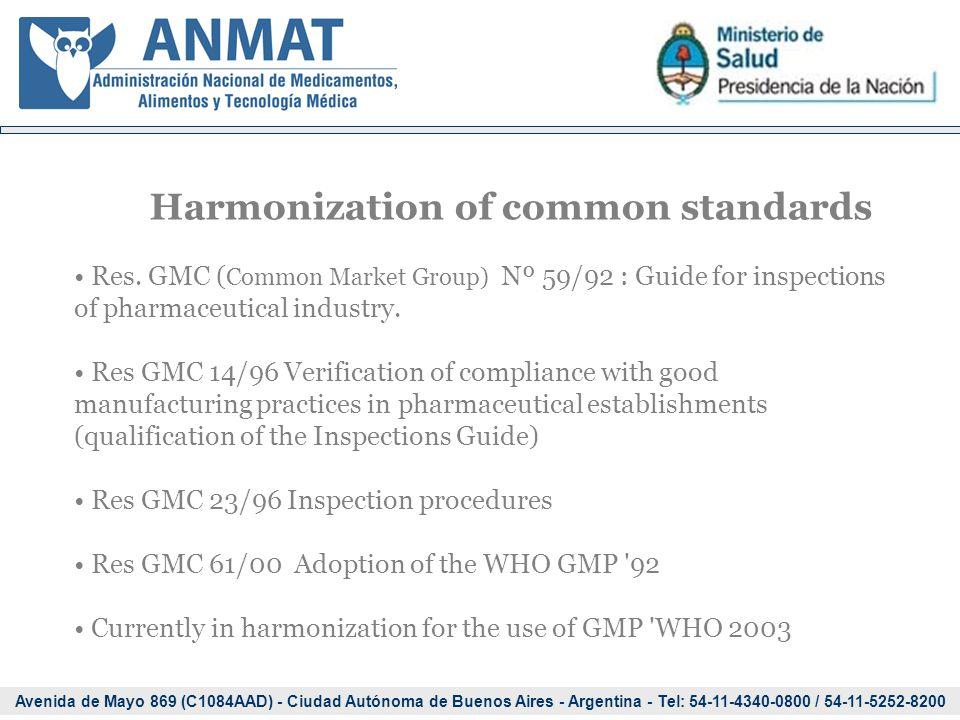 Avenida de Mayo 869 (C1084AAD) - Ciudad Autónoma de Buenos Aires - Argentina - Tel: 54-11-4340-0800 / 54-11-5252-8200 Harmonization of common standards Res.