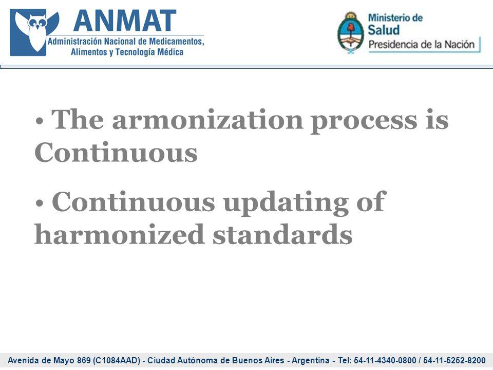 Avenida de Mayo 869 (C1084AAD) - Ciudad Autónoma de Buenos Aires - Argentina - Tel: 54-11-4340-0800 / 54-11-5252-8200 The armonization process is Continuous Continuous updating of harmonized standards