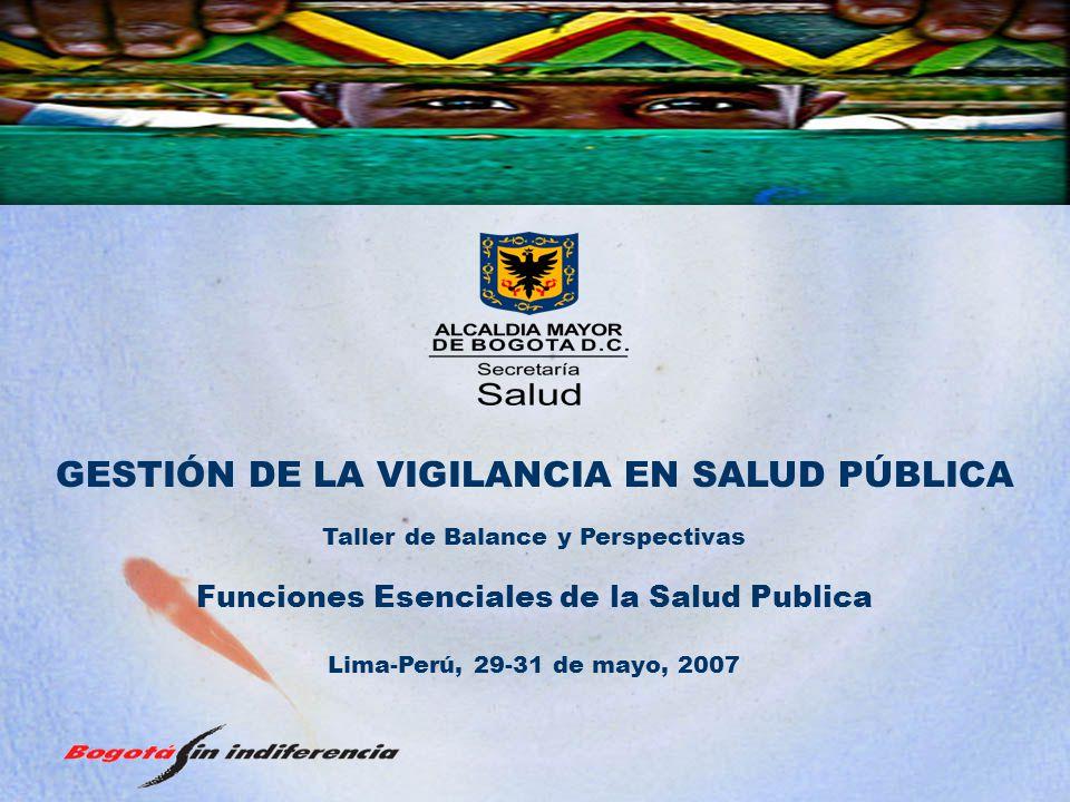 GESTIÓN DE LA VIGILANCIA EN SALUD PÚBLICA Taller de Balance y Perspectivas Funciones Esenciales de la Salud Publica Lima-Perú, 29-31 de mayo, 2007