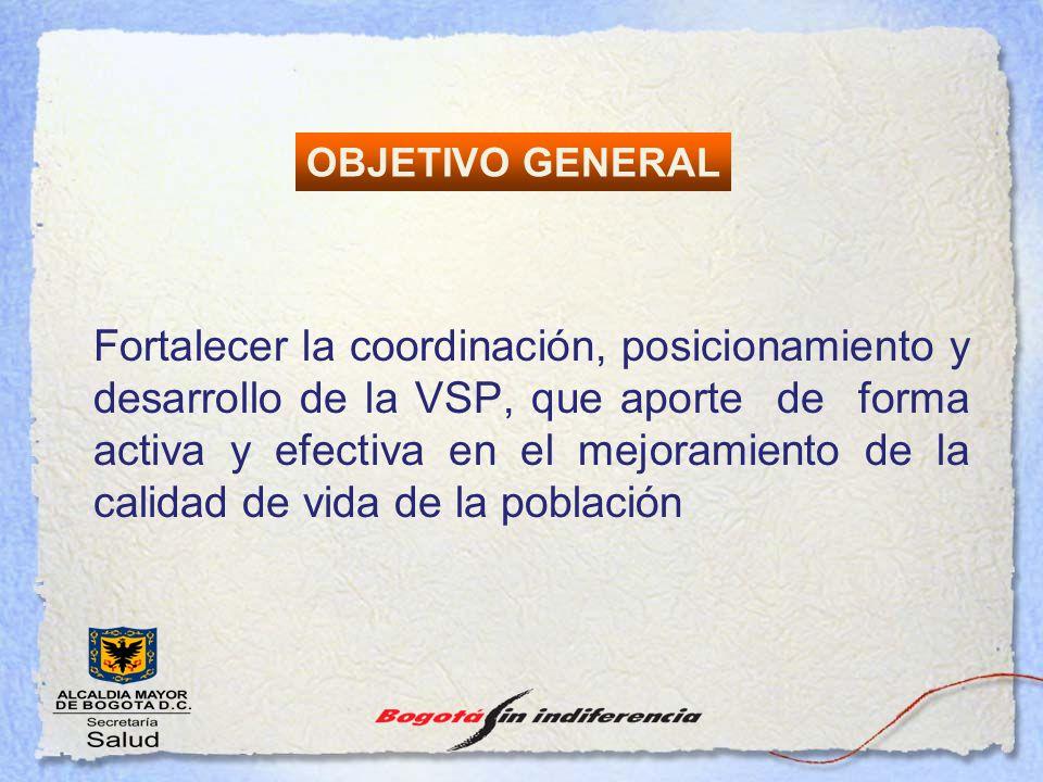 Fortalecer la coordinación, posicionamiento y desarrollo de la VSP, que aporte de forma activa y efectiva en el mejoramiento de la calidad de vida de