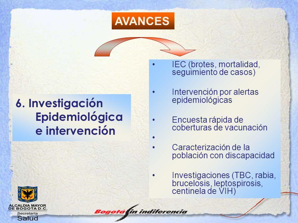 6. Investigación Epidemiológica e intervención IEC (brotes, mortalidad, seguimiento de casos) Intervención por alertas epidemiológicas Encuesta rápida