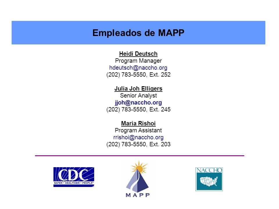 Empleados de MAPP Heidi Deutsch Program Manager hdeutsch@naccho.org (202) 783-5550, Ext.