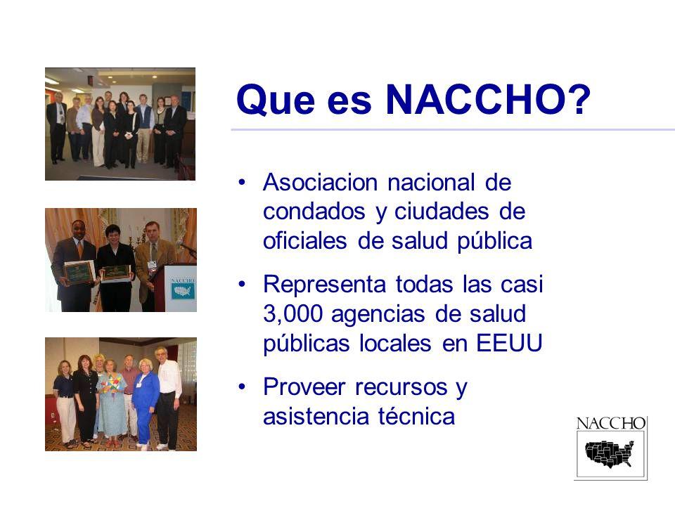 Que es NACCHO? Asociacion nacional de condados y ciudades de oficiales de salud pública Representa todas las casi 3,000 agencias de salud públicas loc