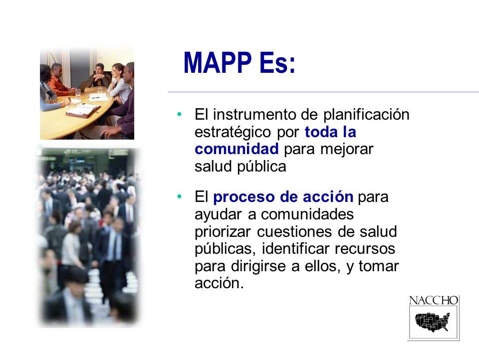 MAPP Es: El instrumento de planificación estratégico por toda la comunidad para mejorar salud pública El proceso de acción para ayudar a comunidades priorizar cuestiones de salud públicas, identificar recursos para dirigirse a ellos, y tomar acción.