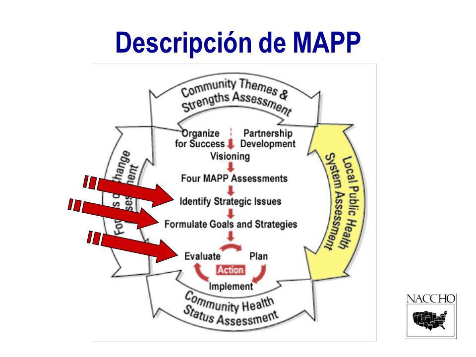Usar MAPP en Países Panaméricos Identificar los áreas prioritarios de salud publica Analizar las estrategias de cooperación con otros organizaciones nacional e internacional de salud publica.
