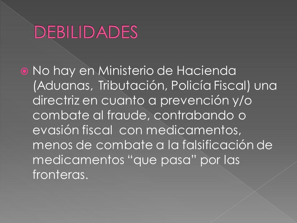 No hay en Ministerio de Hacienda (Aduanas, Tributación, Policía Fiscal) una directriz en cuanto a prevención y/o combate al fraude, contrabando o evas