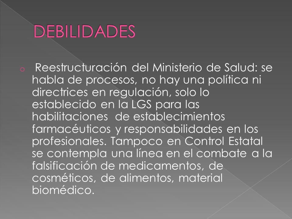o Reestructuración del Ministerio de Salud: se habla de procesos, no hay una política ni directrices en regulación, solo lo establecido en la LGS para