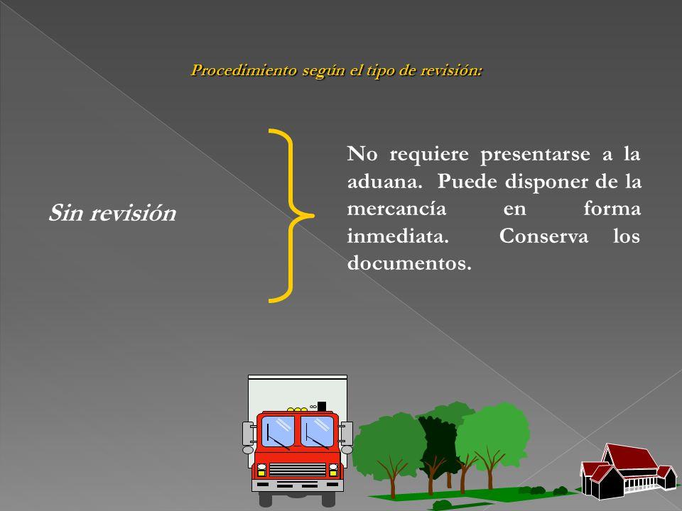 Procedimiento según el tipo de revisión: Sin revisión No requiere presentarse a la aduana. Puede disponer de la mercancía en forma inmediata. Conserva