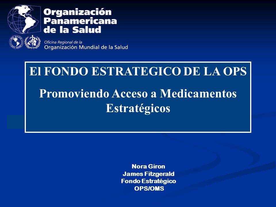 Promover una política coherente acerca de los medicamentos genéricos Elaborar estrategias de contención de costos Fortalecer los sistemas de suministro de insumos estratégicos Reforzar los mecanismos de adquisición de medicamentos regionales Líneas estratégicas para promover el ACCESO a Medicamentos (CD 45/10):