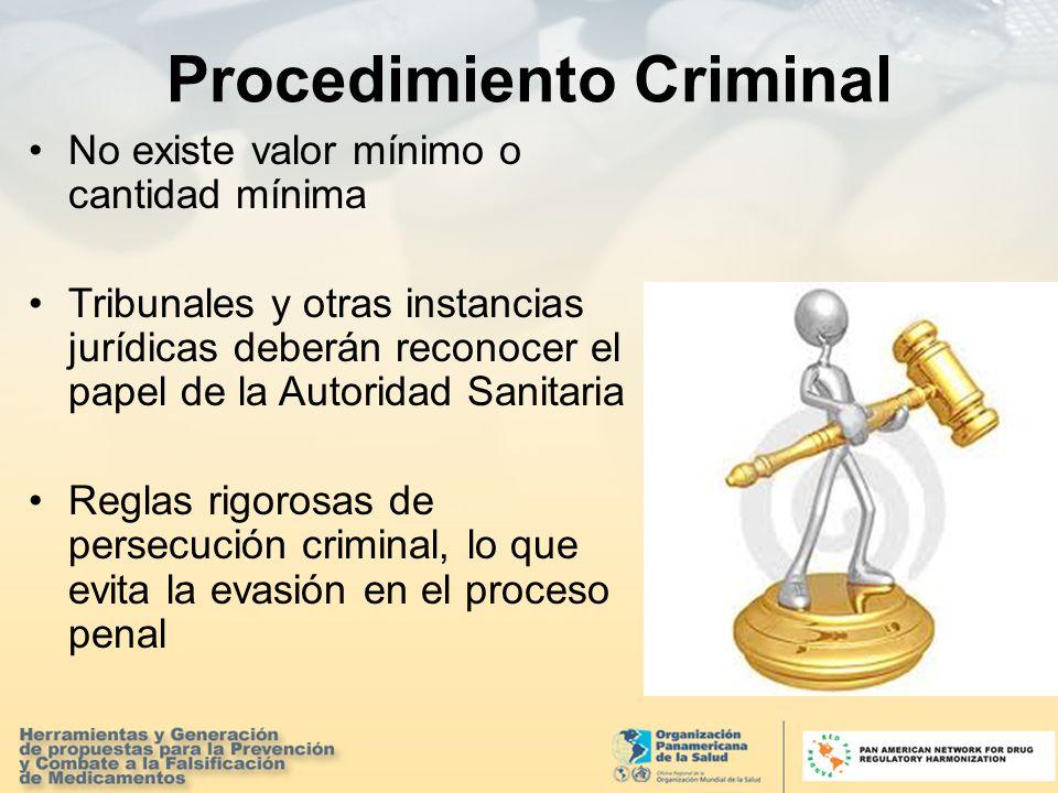 Procedimiento Criminal No existe valor mínimo o cantidad mínima Tribunales y otras instancias jurídicas deberán reconocer el papel de la Autoridad Sanitaria Reglas rigorosas de persecución criminal, lo que evita la evasión en el proceso penal