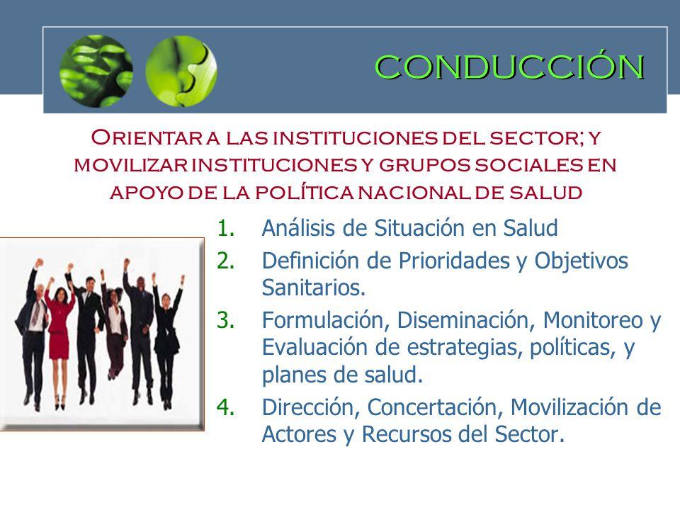 CONDUCCIÓN 1.Análisis de Situación en Salud 2.Definición de Prioridades y Objetivos Sanitarios. 3.Formulación, Diseminación, Monitoreo y Evaluación de