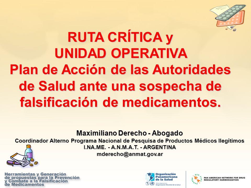 RUTA CRÍTICA y UNIDAD OPERATIVA Plan de Acción de las Autoridades de Salud ante una sospecha de falsificación de medicamentos. Maximiliano Derecho - A