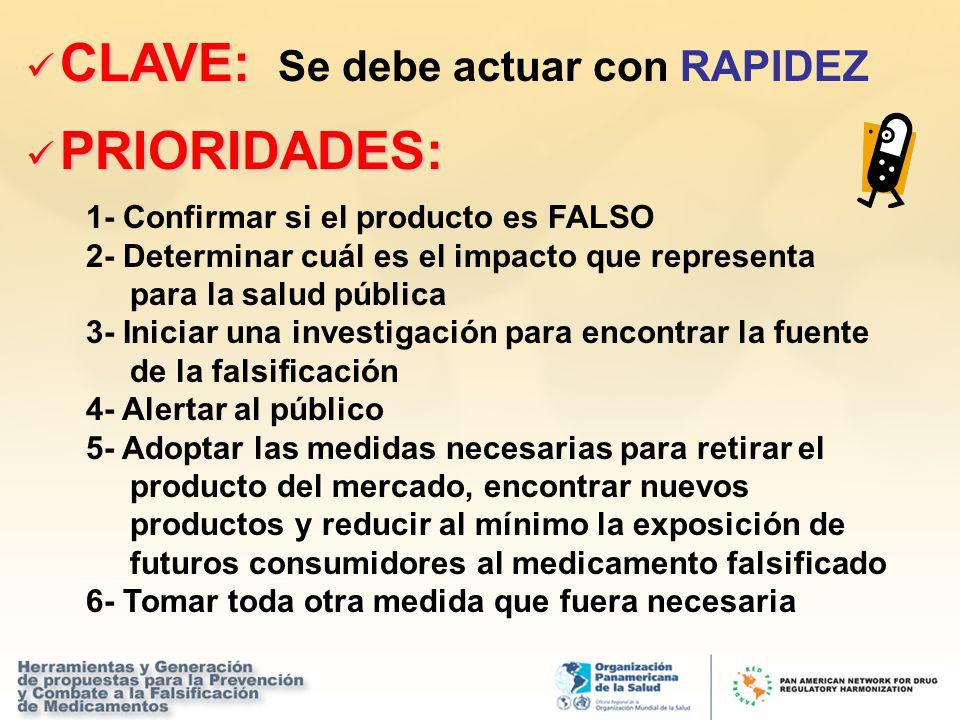 CLAVE: CLAVE: Se debe actuar con RAPIDEZ PRIORIDADES: PRIORIDADES: 1- Confirmar si el producto es FALSO 2- Determinar cuál es el impacto que represent