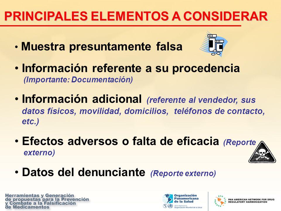 Muestra presuntamente falsa Información referente a su procedencia (Importante: Documentación) Información adicional (referente al vendedor, sus datos