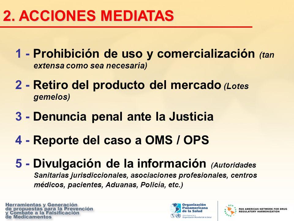 1 - Prohibición de uso y comercialización (tan extensa como sea necesaria) 2 - Retiro del producto del mercado (Lotes gemelos) 3 - Denuncia penal ante