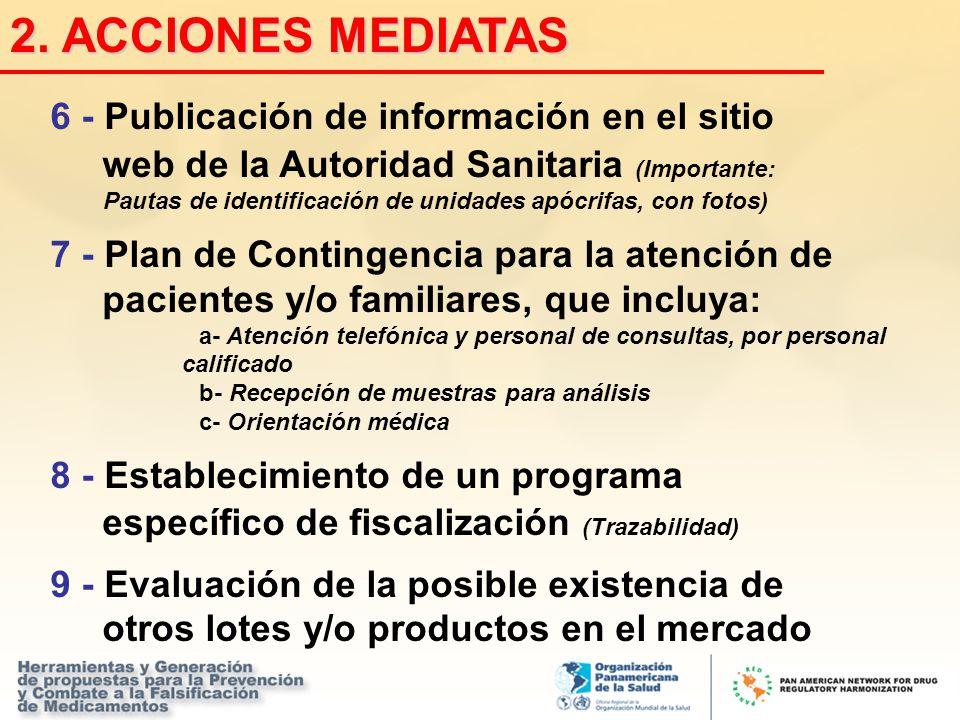 6 - Publicación de información en el sitio web de la Autoridad Sanitaria (Importante: Pautas de identificación de unidades apócrifas, con fotos) 7 - P