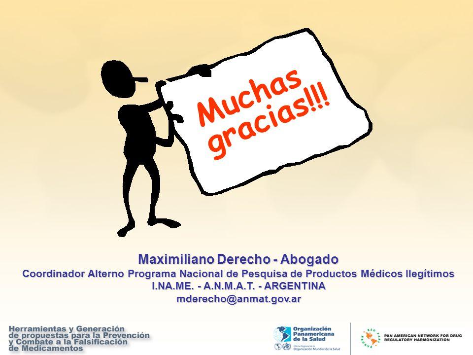 Muchas gracias!!! Maximiliano Derecho - Abogado Coordinador Alterno Programa Nacional de Pesquisa de Productos Médicos Ilegítimos I.NA.ME. - A.N.M.A.T