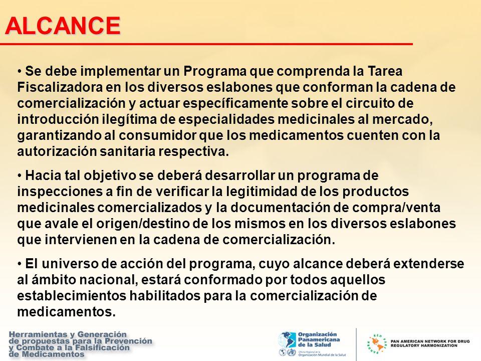 ALCANCE Se debe implementar un Programa que comprenda la Tarea Fiscalizadora en los diversos eslabones que conforman la cadena de comercialización y a
