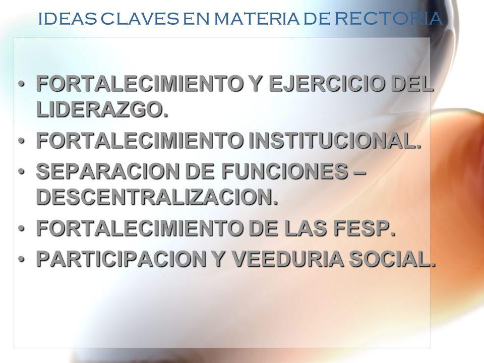 IDEAS CLAVES EN MATERIA DE RECTORIA FORTALECIMIENTO Y EJERCICIO DEL LIDERAZGO.FORTALECIMIENTO Y EJERCICIO DEL LIDERAZGO. FORTALECIMIENTO INSTITUCIONAL