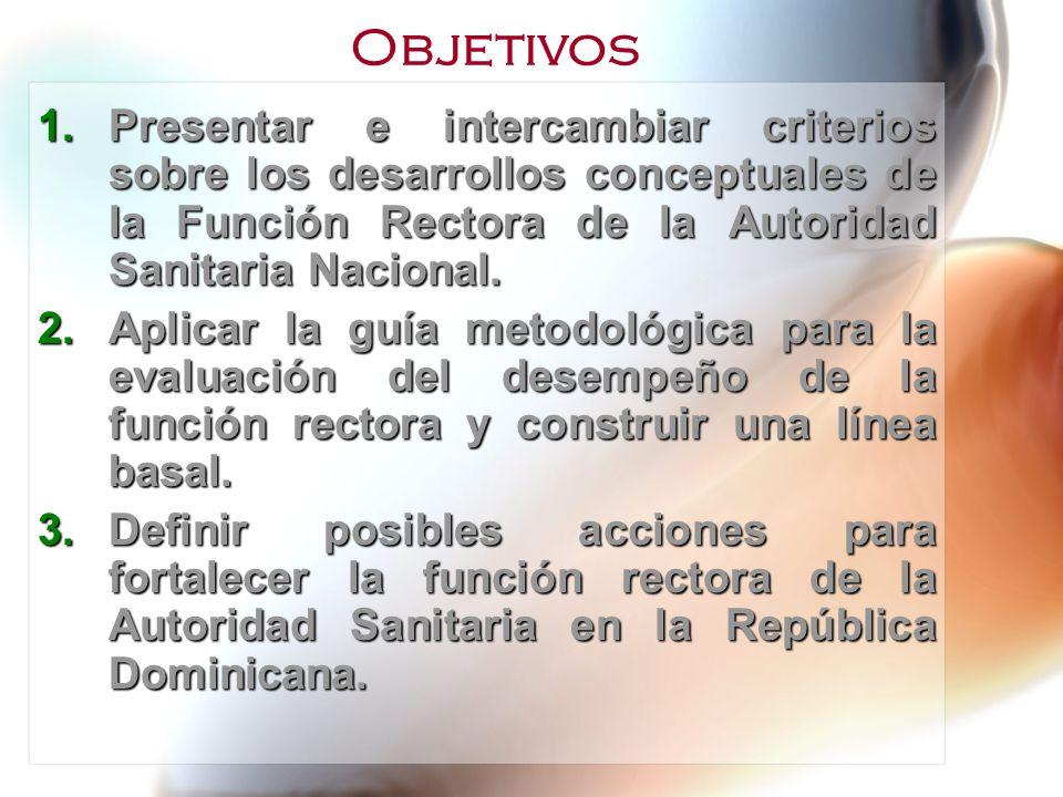 1.Presentar e intercambiar criterios sobre los desarrollos conceptuales de la Función Rectora de la Autoridad Sanitaria Nacional. 2.Aplicar la guía me