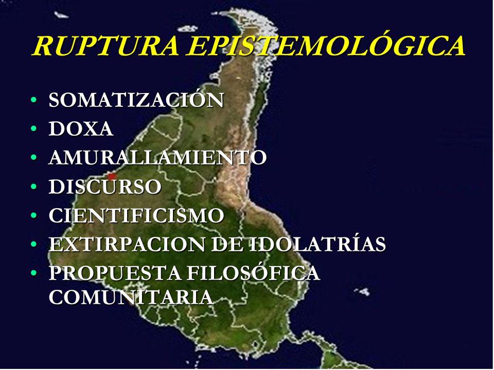 RUPTURA EPISTEMOLÓGICA SOMATIZACIÓNSOMATIZACIÓN DOXADOXA AMURALLAMIENTOAMURALLAMIENTO DISCURSODISCURSO CIENTIFICISMOCIENTIFICISMO EXTIRPACION DE IDOLA