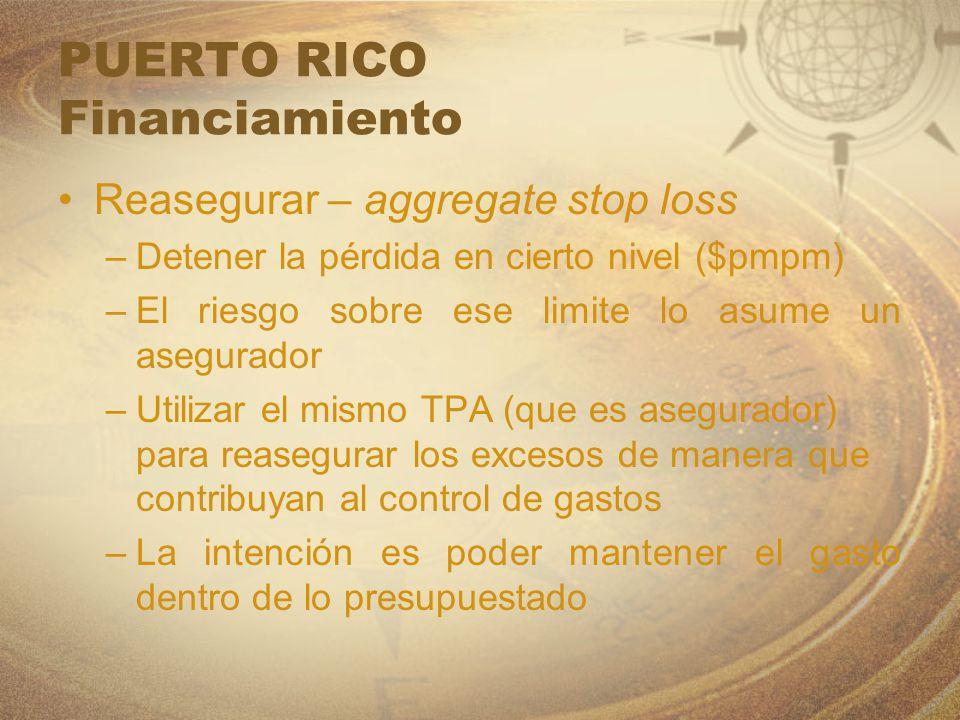 PUERTO RICO Financiamiento Reasegurar – aggregate stop loss –Detener la pérdida en cierto nivel ($pmpm) –El riesgo sobre ese limite lo asume un asegur