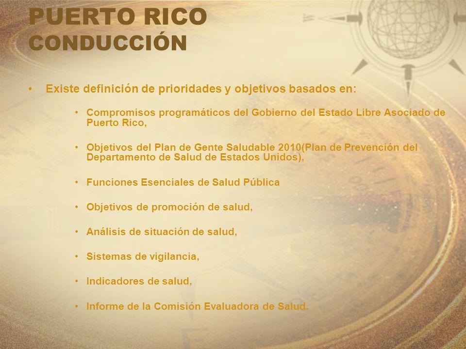 PUERTO RICO CONDUCCIÓN Existe definición de prioridades y objetivos basados en: Compromisos programáticos del Gobierno del Estado Libre Asociado de Pu